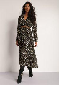 Renee - Czarna Sukienka Sachiel. Kolor: czarny. Długość rękawa: długi rękaw. Wzór: kwiaty. Długość: maxi