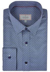 Niebieska elegancka koszula Victorio w geometryczne wzory, z długim rękawem