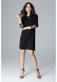 Katrus - Czarna Wizytowa Prosta Sukienka z Tiulowymi Detalami. Kolor: czarny. Materiał: tiul. Typ sukienki: proste. Styl: wizytowy