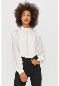 Biała koszula Pepe Jeans ze stójką, z długim rękawem