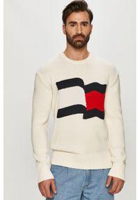 Biały sweter TOMMY HILFIGER casualowy, na co dzień, z aplikacjami
