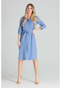 Figl - Sukienka Koszulowa z Podpinanym Rękawem - Niebieska. Kolor: niebieski. Materiał: poliester. Typ sukienki: koszulowe