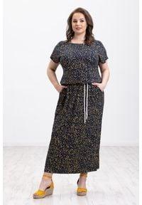 Żółta sukienka Moda Size Plus Iwanek oversize, na lato, na imprezę, maxi