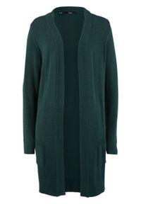 Długi sweter dzianinowy bez zapięcia, długi rękaw bonprix głęboki zielony. Kolor: zielony. Materiał: dzianina. Długość rękawa: długi rękaw. Długość: długie