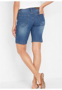 """Bermudy dżinsowe """"authentic-stretch"""", z kolorowym wywinięciem nogawki bonprix niebieski. Kolor: niebieski. Wzór: kolorowy"""
