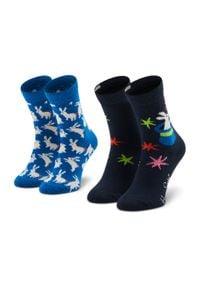 Happy-Socks - Zestaw 2 par wysokich skarpet dziecięcych HAPPY SOCKS - KMAG02-6500 Granatowy. Kolor: niebieski. Materiał: elastan, bawełna, materiał, poliamid