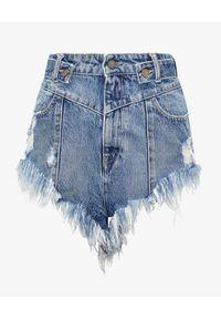 RETROFETE - Jeansowe szorty Tessa. Stan: podwyższony. Kolor: niebieski. Materiał: jeans. Wzór: paski. Styl: klasyczny
