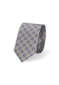 Lancerto - Krawat Szary Wzór Geometryczny. Kolor: szary. Materiał: tkanina, mikrofibra. Wzór: geometria. Styl: klasyczny