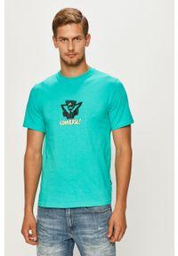 Miętowy t-shirt Converse z nadrukiem, z okrągłym kołnierzem