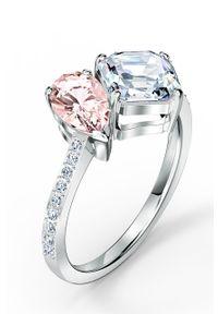 Srebrny pierścionek Swarovski metalowy, z kryształem, z aplikacjami