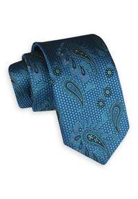 Turkusowy Szeroki Krawat -Angelo di Monti- 7 cm, Męski, Niebieski, Wzór Paisley, Łezki. Kolor: niebieski. Wzór: paisley. Styl: wizytowy, elegancki