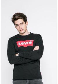Czarna koszulka z długim rękawem Levi's® w kolorowe wzory, z okrągłym kołnierzem, casualowa