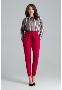 Czerwone spodnie z wysokim stanem Katrus klasyczne