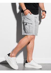 Ombre Clothing - Krótkie spodenki męskie dresowe W292 - jasnoszare - XXL. Kolor: szary. Materiał: dresówka. Długość: krótkie