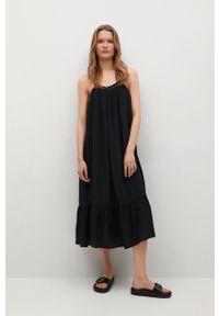mango - Mango - Sukienka Vale. Kolor: czarny. Materiał: tkanina. Długość rękawa: na ramiączkach