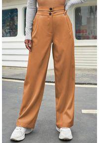 Beżowe spodnie IVET z podwyższonym stanem