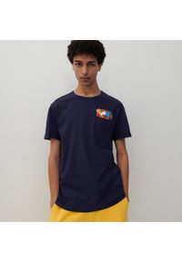 Reserved - T-shirt The Simpsons - Granatowy. Kolor: niebieski