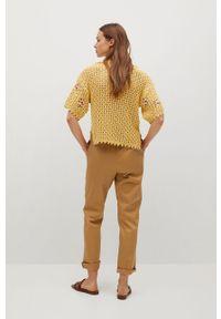 mango - Mango - Sweter LOREA. Kolor: żółty. Materiał: dzianina. Długość rękawa: krótki rękaw. Długość: krótkie. Wzór: haft