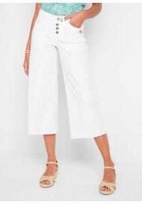 Dżinsy 3/4 culotte bonprix biały twill. Kolor: biały