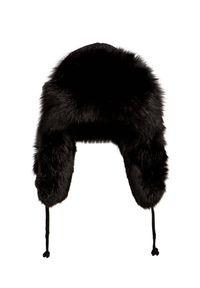 Czarna czapka Gena na zimę, w kolorowe wzory