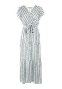 Born2be - Jasnoniebieska Sukienka Waeyo. Typ kołnierza: kołnierz z falbankami. Kolor: niebieski. Materiał: tkanina, wiskoza, materiał. Długość rękawa: krótki rękaw. Wzór: prążki, aplikacja. Typ sukienki: kopertowe. Długość: maxi