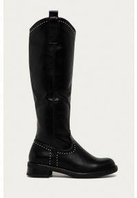 Answear Lab - Kozaki. Nosek buta: okrągły. Kolor: czarny. Materiał: guma. Szerokość cholewki: normalna. Wzór: aplikacja. Styl: wakacyjny