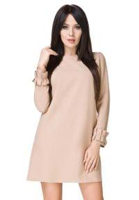 Tessita - Beżowa Sukienka z Falbanką przy Rękawie. Kolor: beżowy. Materiał: elastan, poliester