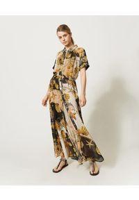 TwinSet - Sukienka maxi z nadrukiem muszli Twinset. Kolor: wielokolorowy. Materiał: poliester. Wzór: nadruk. Długość: maxi