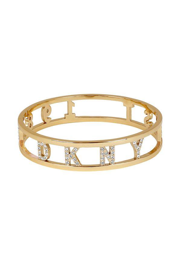 Złota bransoletka DKNY z aplikacjami, metalowa
