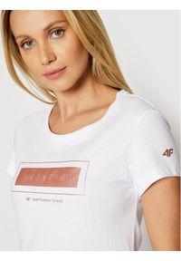 4f - 4F T-Shirt H4L21-TSD034 Biały Regular Fit. Kolor: biały