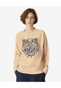 Kenzo - KENZO - Bluza z haftowanym tygrysem. Kolor: beżowy. Materiał: bawełna. Długość rękawa: długi rękaw. Długość: długie. Wzór: haft. Styl: klasyczny