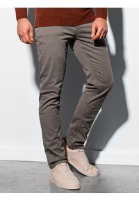 Ombre Clothing - Spodnie męskie P895 - ciemnobeżowe - L. Okazja: do pracy. Kolor: beżowy. Materiał: bawełna, elastan. Styl: klasyczny