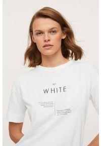 mango - Mango - T-shirt bawełniany Pstcolor. Okazja: na co dzień. Kolor: biały. Materiał: bawełna. Styl: casual