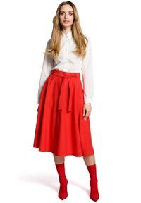 MOE - Czerwona Rozkloszowana Wizytowa Spódnica Midi z Paskiem. Kolor: czerwony. Materiał: wiskoza, poliester, elastan. Styl: wizytowy