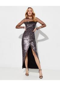 Balmain - BALMAIN - Sukienka maxi w cekiny. Kolor: srebrny. Typ sukienki: dopasowane. Długość: maxi