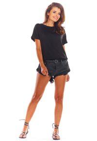 Awama - Czarna Oversizowa Bluzka Wiązana na Plecach. Kolor: czarny. Materiał: wiskoza, elastan