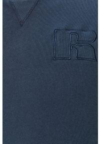Niebieska bluza nierozpinana Russell Athletic casualowa, z aplikacjami