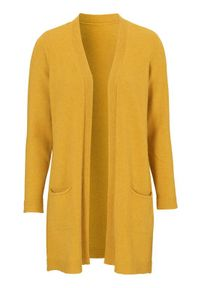 Żółty sweter Cellbes melanż, klasyczny, z klasycznym kołnierzykiem