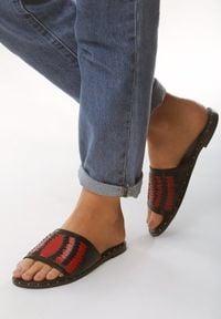 Born2be - Czerwone Klapki Follow Your Fire. Okazja: na co dzień. Nosek buta: otwarty. Kolor: czerwony. Materiał: jeans, wiskoza, len. Obcas: na obcasie. Styl: casual. Wysokość obcasa: niski