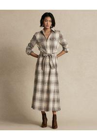 Ralph Lauren - RALPH LAUREN - Sukienka w kratę z paskiem. Typ kołnierza: polo. Kolor: beżowy. Materiał: materiał, bawełna. Długość rękawa: długi rękaw. Sezon: jesień. Typ sukienki: koszulowe #4