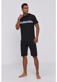 DKNY - Dkny - T-shirt piżamowy. Kolor: czarny. Materiał: dzianina. Wzór: nadruk