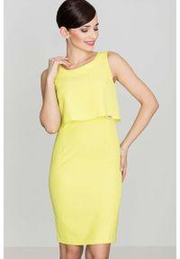Katrus - Elegancka Żółta Sukienka Na Szerokich Ramiączkach. Kolor: żółty. Materiał: elastan, poliester. Długość rękawa: na ramiączkach. Styl: elegancki