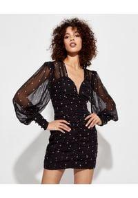 RETROFETE - Czarna sukienka w drobne róże. Kolor: czarny. Materiał: jedwab. Wzór: haft, aplikacja. Typ sukienki: dopasowane. Długość: mini