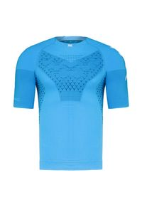 Niebieska koszulka termoaktywna X-Bionic z krótkim rękawem, z asymetrycznym kołnierzem