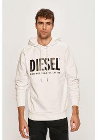 Biała bluza nierozpinana Diesel z kapturem, z nadrukiem, casualowa, na co dzień