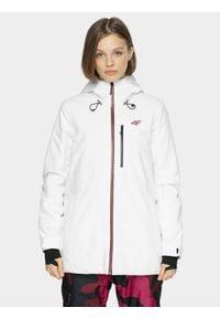 4f - Kurtka snowboardowa damska. Kolor: biały. Materiał: poliester, materiał. Sezon: zima. Sport: snowboard