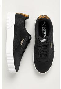 Czarne buty sportowe Puma na obcasie, na średnim obcasie
