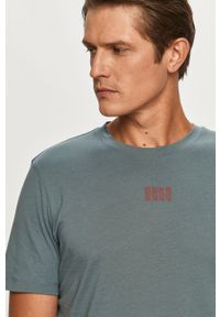 Szary t-shirt Hugo na co dzień, z okrągłym kołnierzem, casualowy