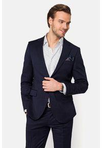 Lancerto - Garnitur Granatowy w Kratę Merkado. Kolor: niebieski. Materiał: bawełna, tkanina, materiał, wełna. Wzór: gładki, nadruk