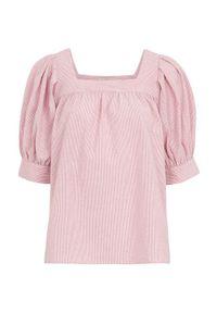 Freequent Bluzka w drobne prążki Uana różowy biały w paski female różowy/biały/ze wzorem S (38). Typ kołnierza: dekolt w karo. Kolor: biały, różowy, wielokolorowy. Materiał: tkanina. Wzór: paski. Styl: elegancki